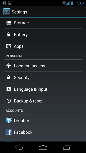start settings apk android