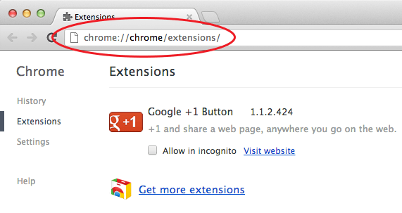 Google Chrome Extensions Window