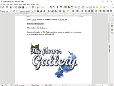 Screenshot of a .wps file in LibreOffice Writer 5